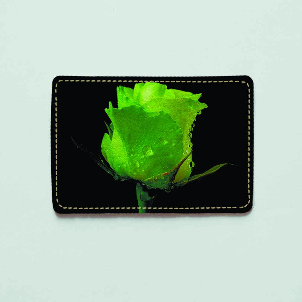 Картхолдер v.1.0. Fisher Gifts  265 Зеленая роза (эко-кожа)