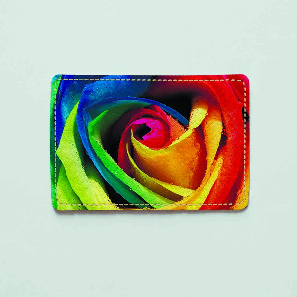 Картхолдер v.1.0. Fisher Gifts  264 Разноцветные лепестки розы (эко-кожа)