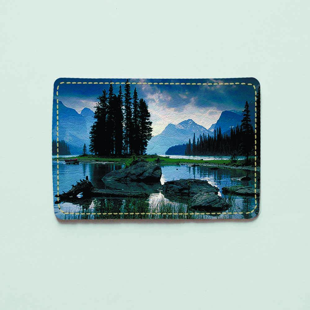 Обложка для id паспорта, карты, автодокументов 1.0 Fisher Gifts  385 Вечерние горы (эко-кожа)
