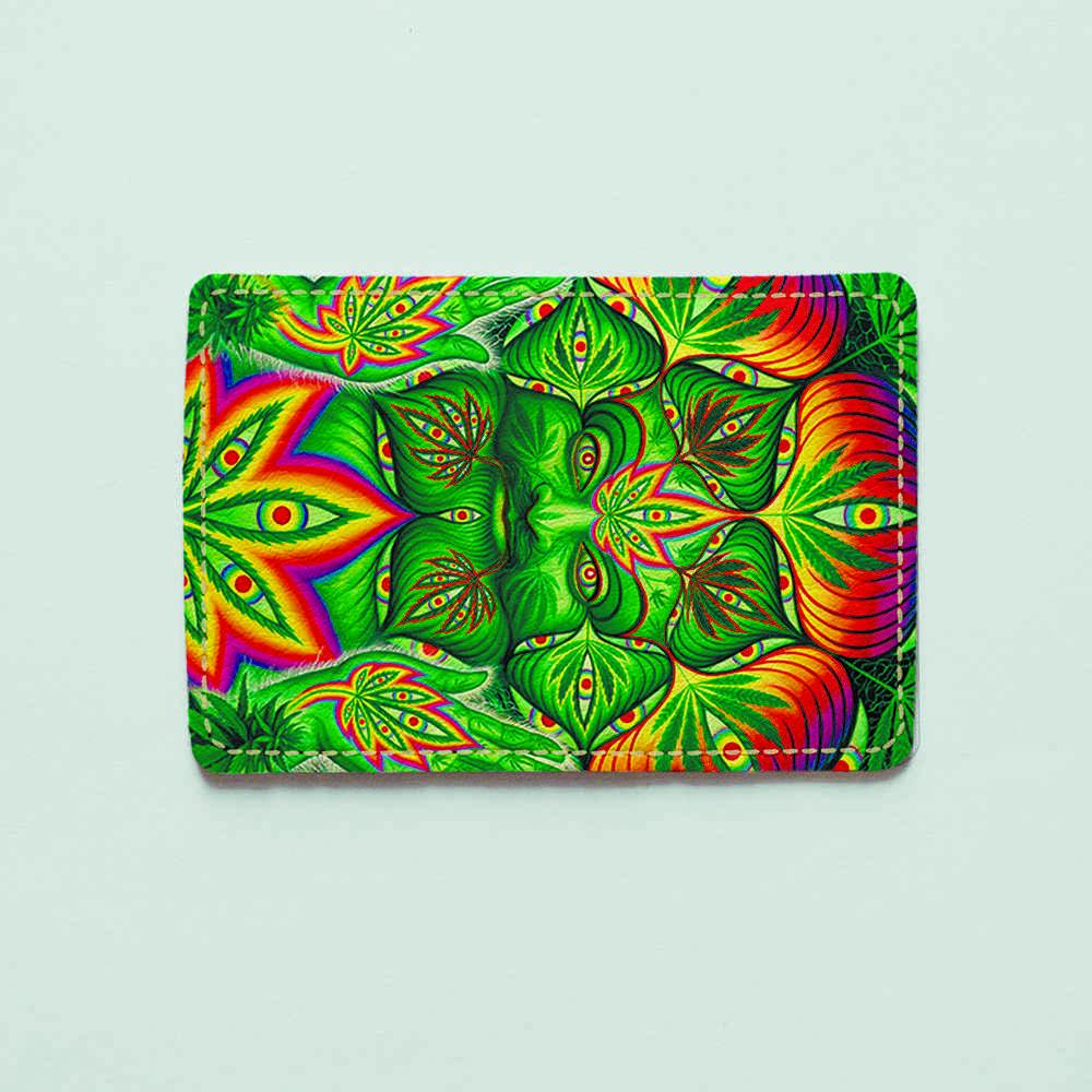 Картхолдер v.1.0. Fisher Gifts  461 Зеленый Будда (эко-кожа)