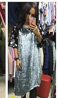 Платье велюр+пайетки 43762837-2