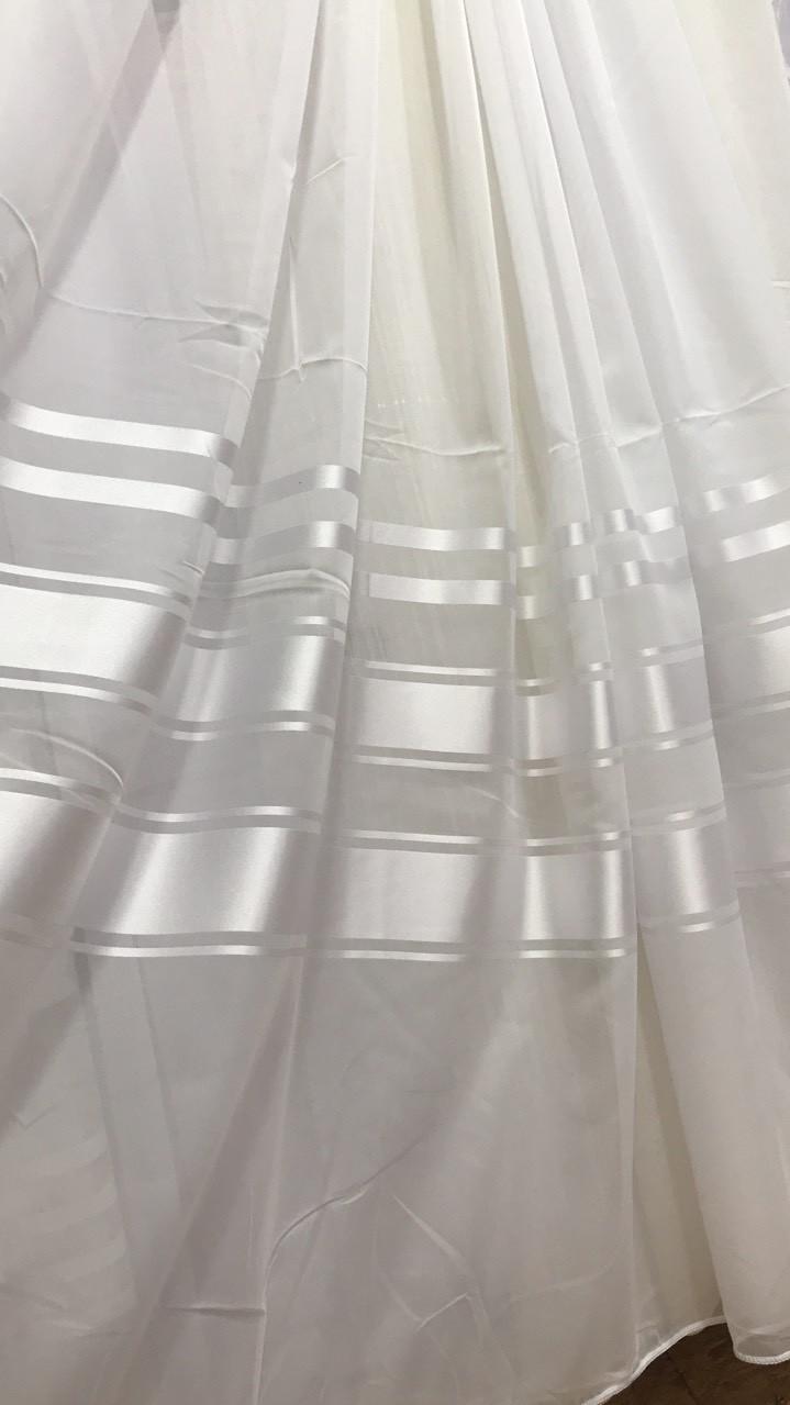 Тюль шифон Класик Белая атласная полоса (3м шириной)