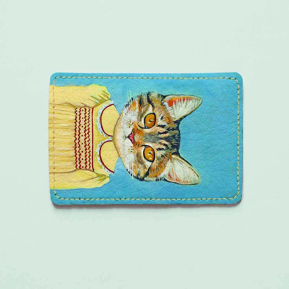 Картхолдер v.1.0. Fisher Gifts  608 Кошечка в платье (эко-кожа)