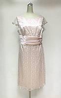 Платье нарядное кружево-атлас нежно розовое, фото 1