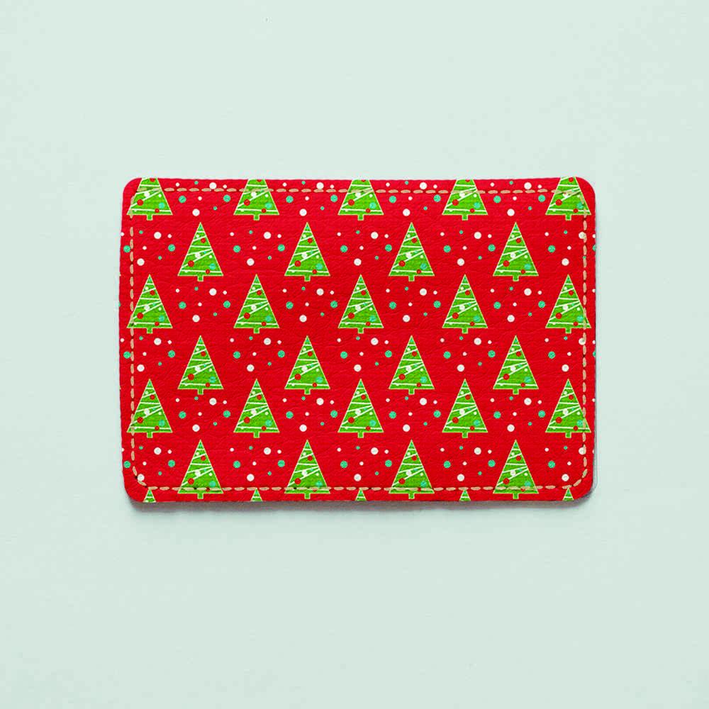 Картхолдер v.1.0. Fisher Gifts  726 Зелёные ёлочки на красном фоне (эко-кожа)