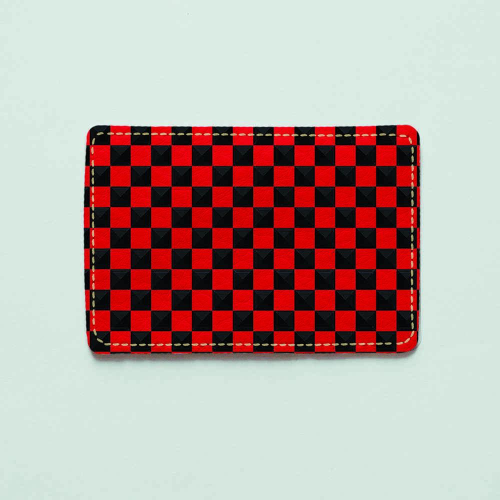 Картхолдер v.1.0. Fisher Gifts  756 Черно-красные шахматы (эко-кожа)