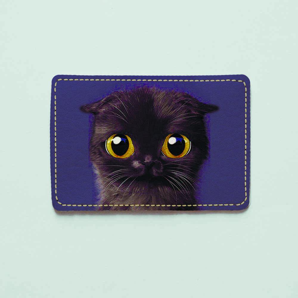 Картхолдер v.1.0. Fisher Gifts  784 Черный кот (эко-кожа)