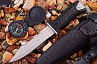 Нож для дайвинга Скат 2, прочный с мощным клинком и волнистой заточкой на обухе