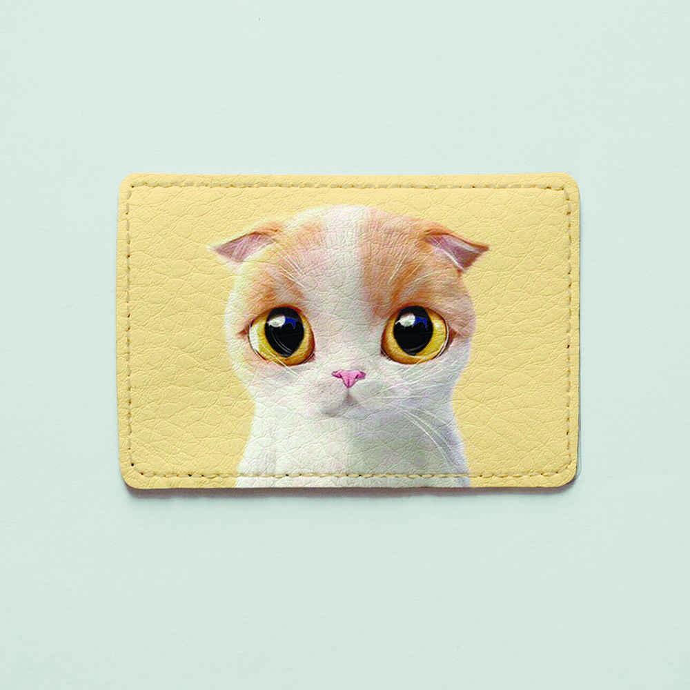 Обложка для id паспорта, карты, автодокументов 1.0 Fisher Gifts  788 Бело-кремовая кошка (эко-кожа)