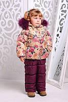 Зимний комплект для девочки с курткой с цветочным принтом
