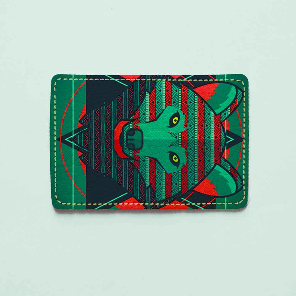 Обложка для id паспорта, карты, автодокументов 1.0 Fisher Gifts  822 Геометрический волк (эко-кожа)