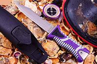 Нож для дайвинга Корал, яркий сиреневый окрас рукояти заметен под водой, фото 1