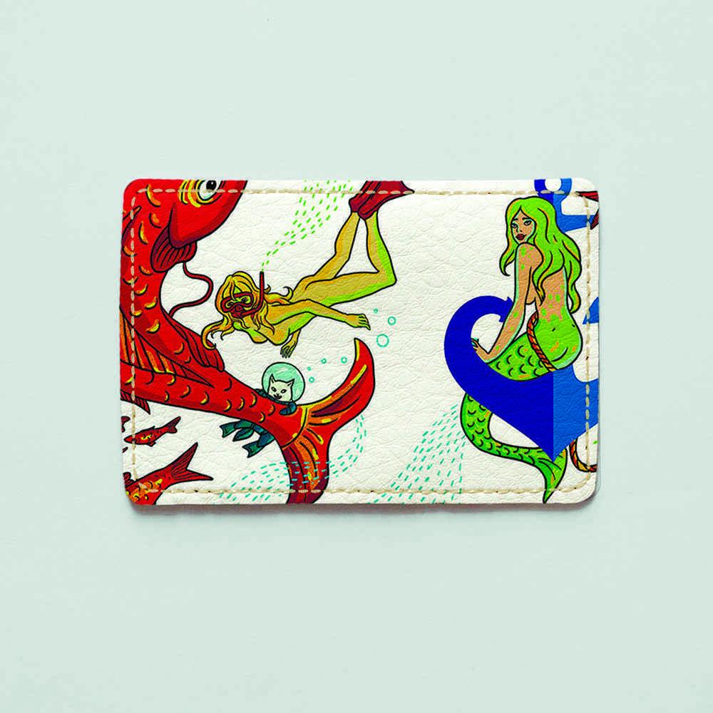 Обложка для id паспорта, карты, автодокументов 1.0 Fisher Gifts  887 Русалочка и кот (эко-кожа)