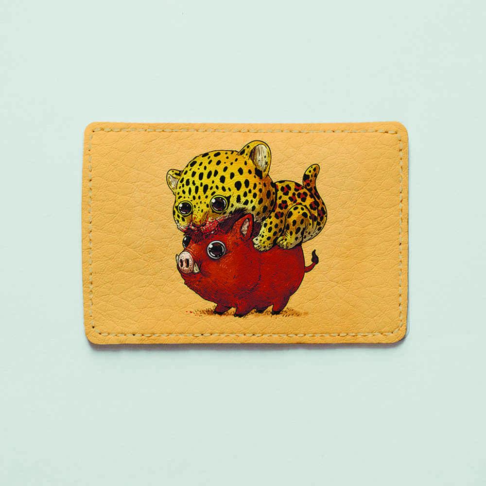 Картхолдер v.1.0. Fisher Gifts  938 Леопард и кабан (эко-кожа)
