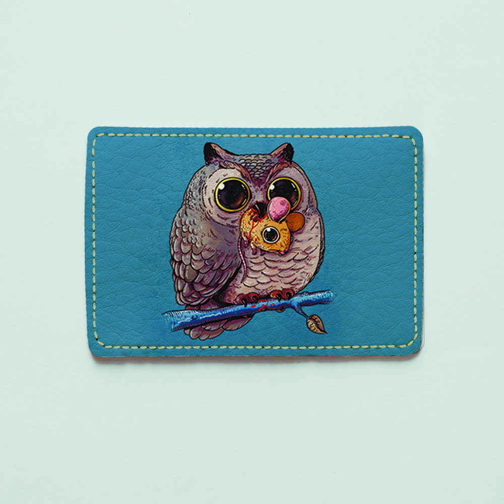 Картхолдер v.1.0. Fisher Gifts  943 Сова и мышь (эко-кожа)