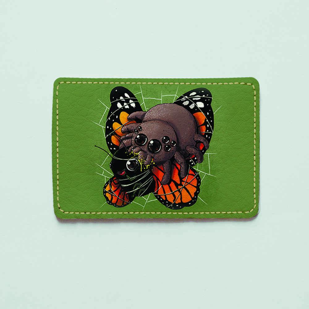 Картхолдер v.1.0. Fisher Gifts  944 Паук и бабочка (эко-кожа)