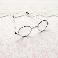 Очки мини для куклы, прозрачное стекло, серебро - 6*2 см