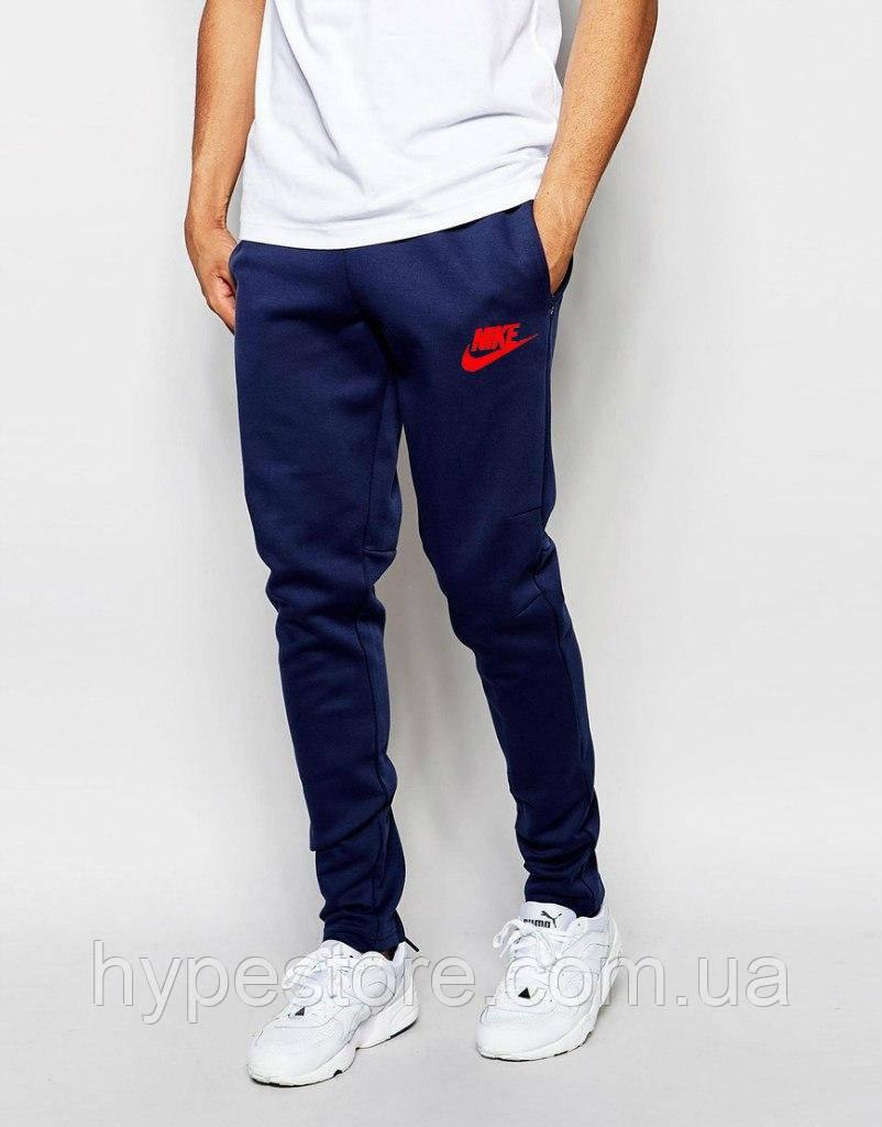 Спортивные штаны Nike (темно-синий + красный логотип) , Реплика