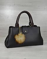 Женская сумка вместительная черная на плечо коричневые вставки, фото 1