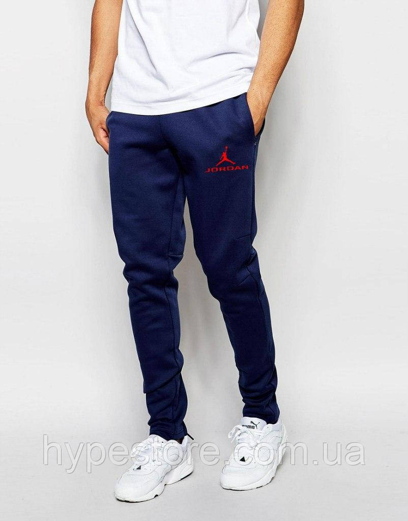 Спортивные штаны Jordan (темно-синий + красный логотип), Реплика