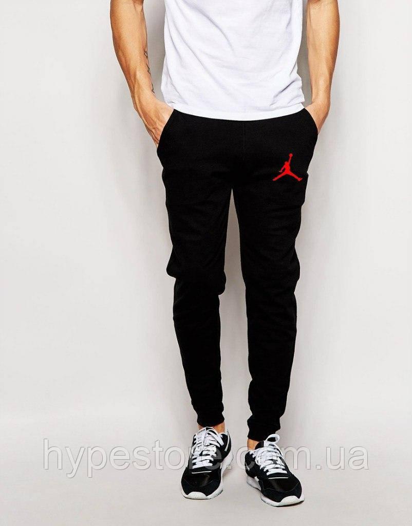 Спортивные штаны Jordan (черный+красный логотип), Реплика
