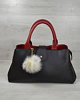 Женская сумка черная на плечо красные вставки, фото 1