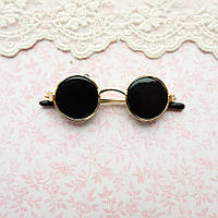 Очки мини для куклы, солнцезащитные, золото - 6*2 см