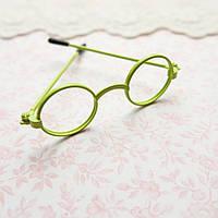 Очки мини-оправа (без стекол) для куклы, салатовый - 6*2 см