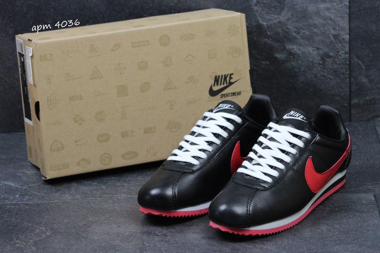 Подростковые кроссовки NIke Cortez черные с красным 36р