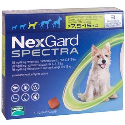 НЕКСГАРД СПЕКТРА для собак 7,5-15 кг NEXGARD SPECTRA таблетки против блох, клещей и глистов, 1 таблетка