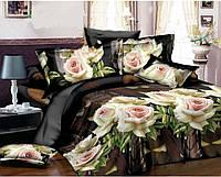 """3D Постельное белье евро размера """"Ranforce"""" - Бежевые розы"""