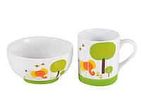 Детская глубокая тарелка Fissman 12x5cм/320мл и чашка 200мл СЛОНЕНОК (керамика, силикон)