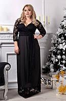 Женское длинное платье с гипюровым верхом под пояс. Ткань: дайвинг, гипюр. Размер: 50-52,52-54,54-56.