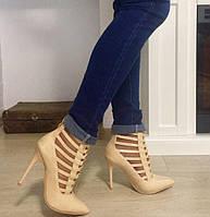 Туфли женские Бежевые Лаковые на шпильке Плетенка