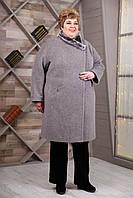 Женское зимнее пальто супер батал 66-78р, серый графит