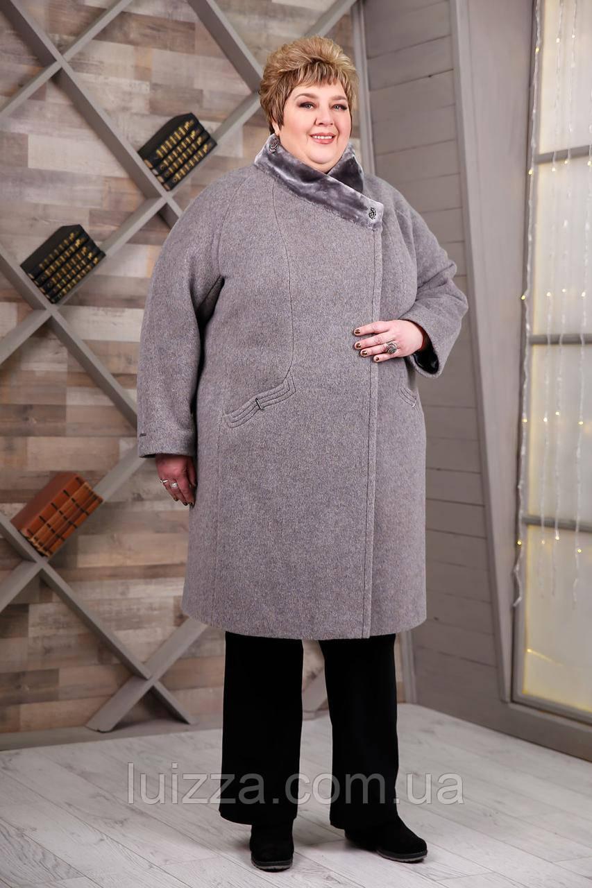 Женское зимнее пальто супер батал 64-78р, серый графит 78
