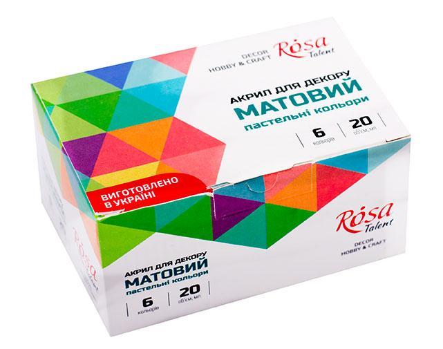 Набір акрилових фарб для декору пастельні кольори Rosa Start,матові 6 кольорів 20 мл. 90747130