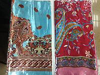 Платок шёлк атласный красный и бирюзовый  85 см