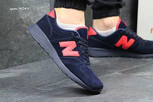 Мужские кроссовки New Balance 420 замшевые,темно синие с красным 43р