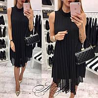 Женское короткое шифоновое платье свободного кроя. Ткань: креп-шифон. Размер: 42-44,46-48.