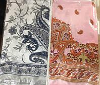 Платок шёлк атласный белый и розовый  85 см