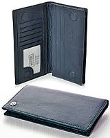 Мужской кожаный кошелек портмоне Boston на магнитах Цвет синий натуральная кожа, фото 1
