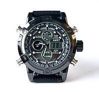 Армейские часы AMST 3022 Silver-Black Fluted Wristband, кварцевые, противоударные, армейские часы АМСТ
