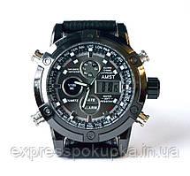 Армейские кварцевые противоударные часы AMST 3022 Silver-Black Fluted Wristband