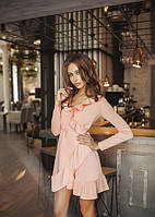 Платье женское короткое из трикотажа на запах с рюшами P8058