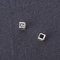 """Фурнитура бусина вставка кубик-завиток цвет металла """"серебро"""" d 3мм"""