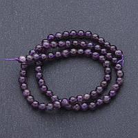 Бусины натуральный камень Аметист на нитке шарик  d-5мм, L-40 см