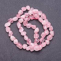 Бусины на нитке натуральный камень Розовый Кварц галтовка d-5-7мм L-40см