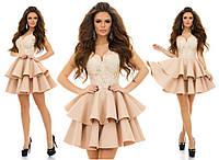 Нежное валановое платье с паетками на  гипюре