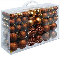 Новогодние елочные игрушки и украшения коричневые 6/4/3 100 шт.